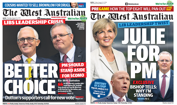 Two newspaper front pages. One has Scott Morrison with the headline BETTER CHOICE and another Julie Bishop with JULIE FOR PM