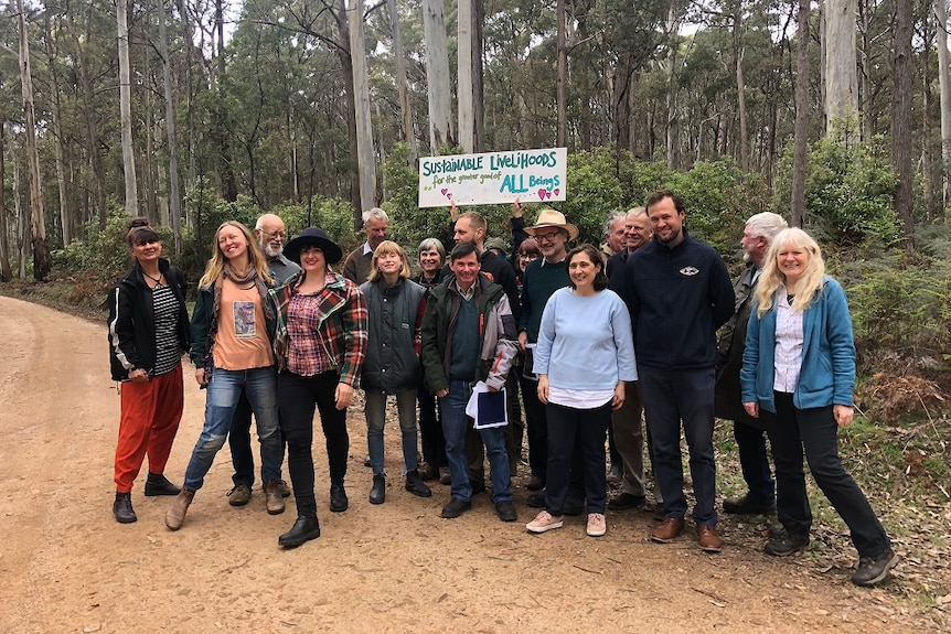 A large group of environmentalists look happy standing in a forest