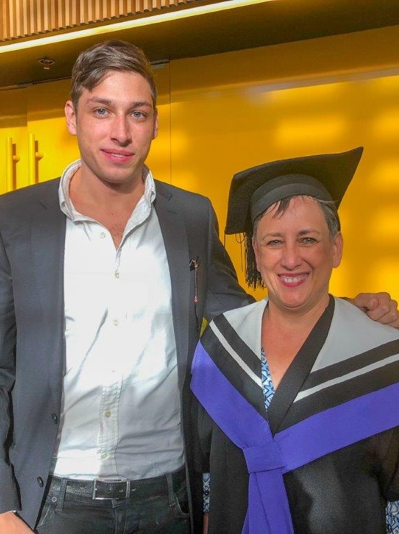 Joanna Olsen, 54, and son Albert after graduating with a law degree from the University of Technology Sydney