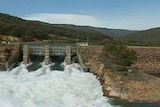 Whitewater flowing under a dam wall in the Snowy Mountains.