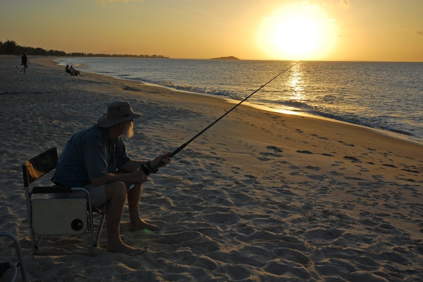 Fishing at sunset near Nhulunbuy in the Northern Territory