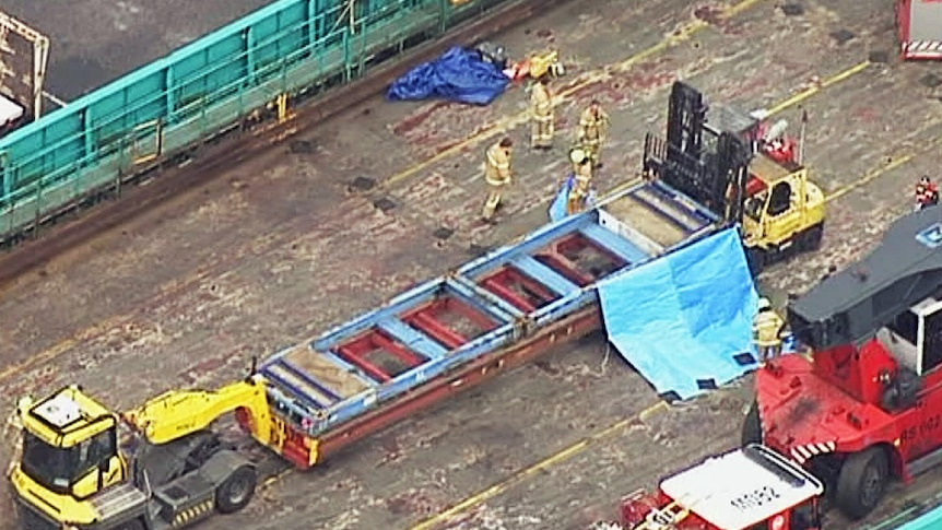 A man crushed to death underneath machinery at a shipping port in Port Melbourne