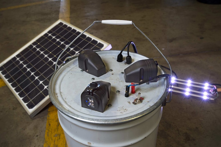 A solar powered battery built by a volunteer at the Substation33 recycling program.