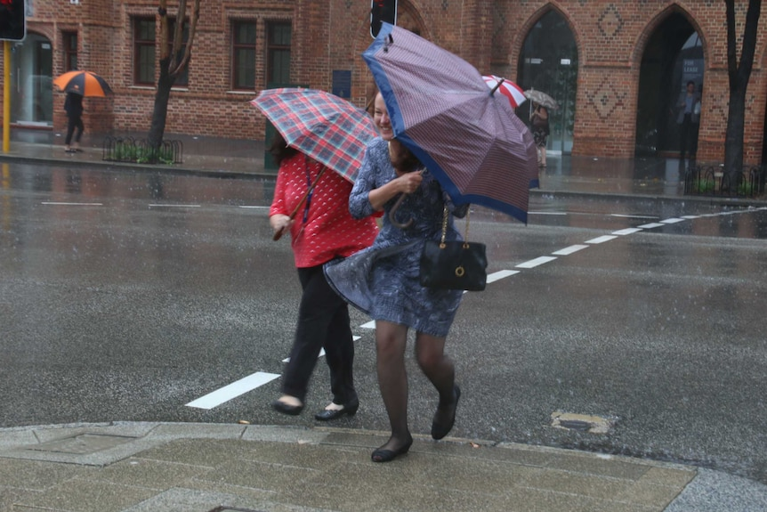 People with umbrellas struggle as they walk in the rain in the Perth CBD.