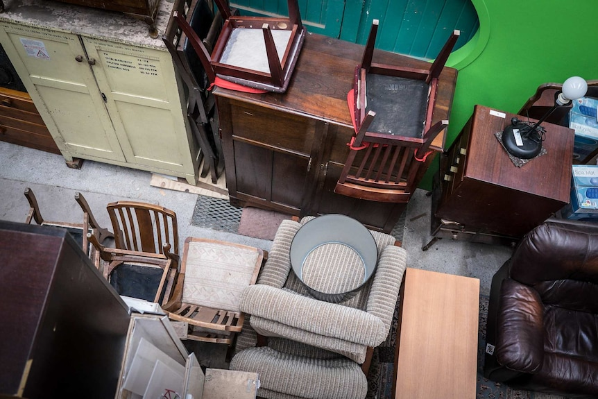 Furniture stacked high at The Bower