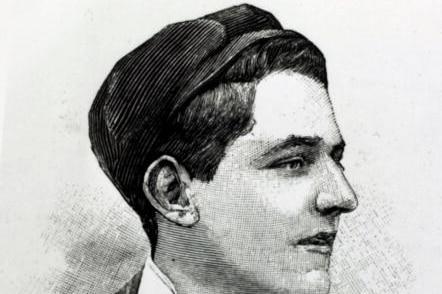 Black and white photo of Edwin Flack in profile.