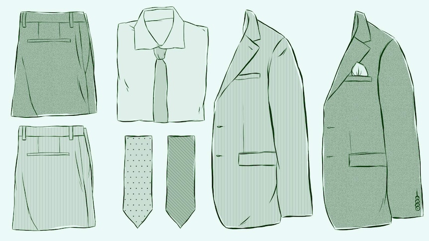 An illustrated flat lay of shirts, jackets, trousers and ties to depict how to find the perfect suit.