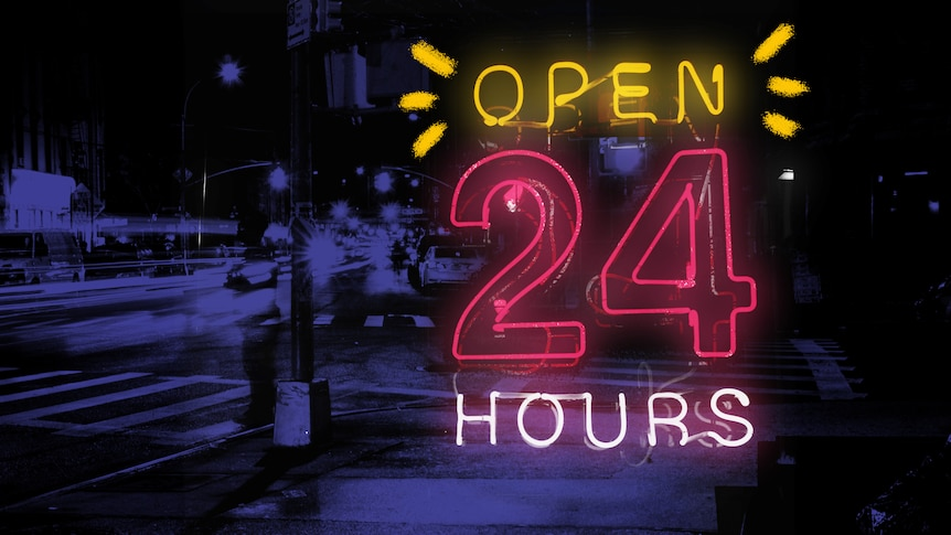 """""""Open 24 hours"""" lit up in pink and white neon lights"""