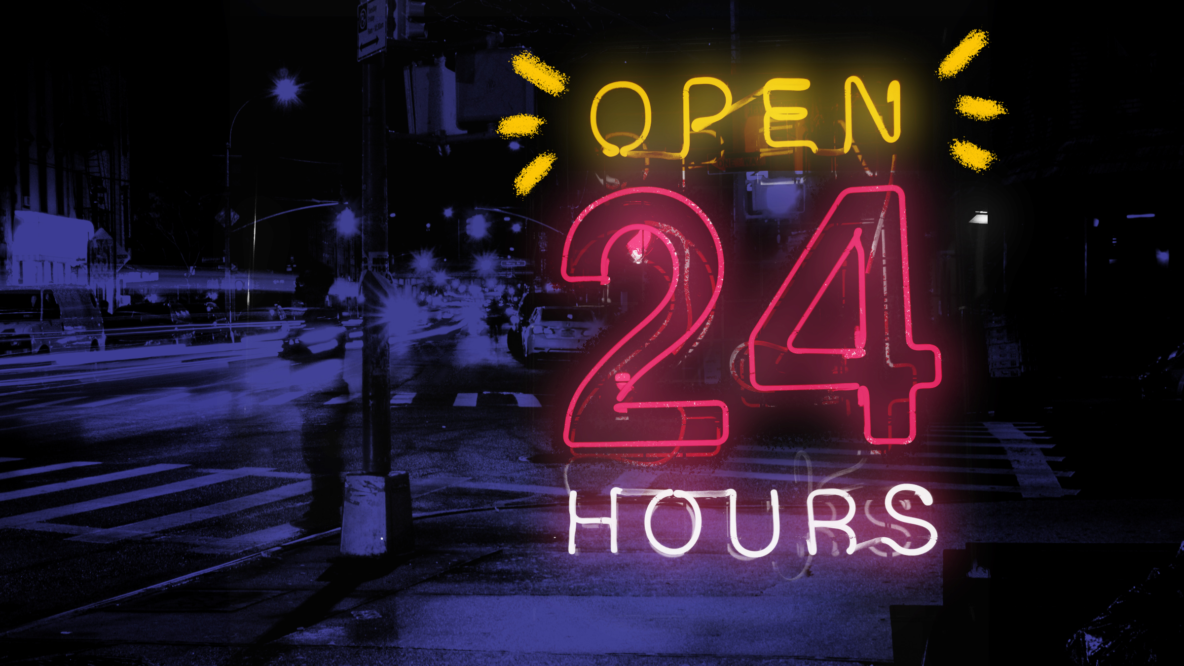 """Open 24 hours"" lit up in pink and white neon lights"