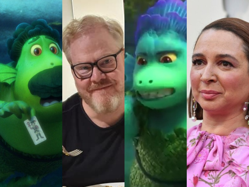 A composite image of a man and a woman compared to the sea monster characters they voice.