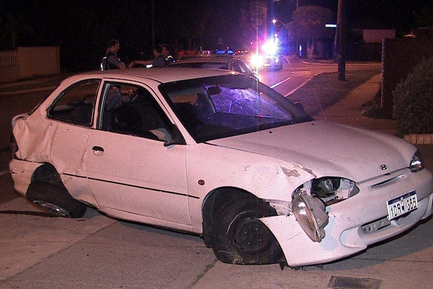 A car that crashed into a wall after a police pursuit in Nollamara.