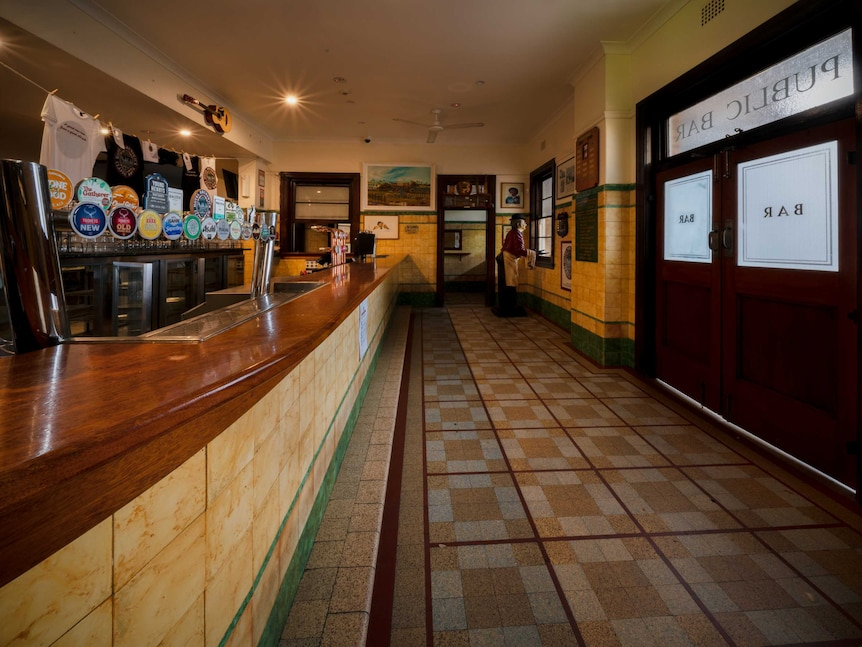 The empty public bar inside the Hotel Brunswick, built in the 1940s