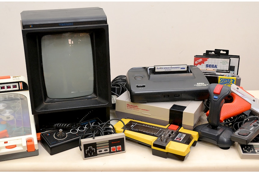 A number of 1980s video game consoles and accessories
