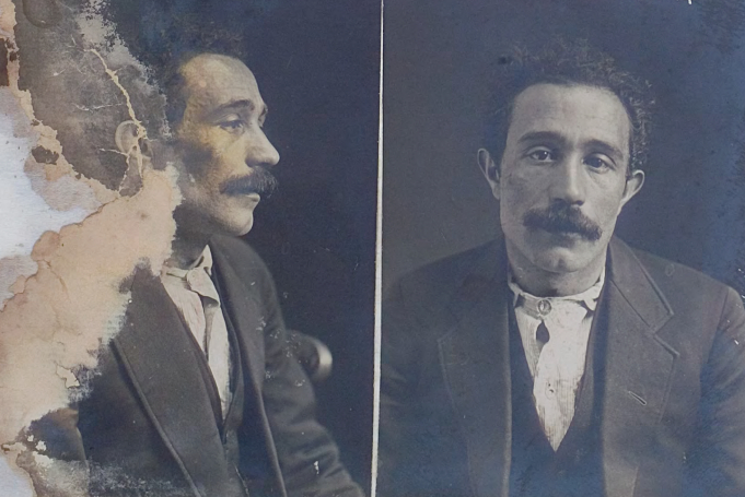 A police mugshot of Antonio Soro after his arrest in 1914.