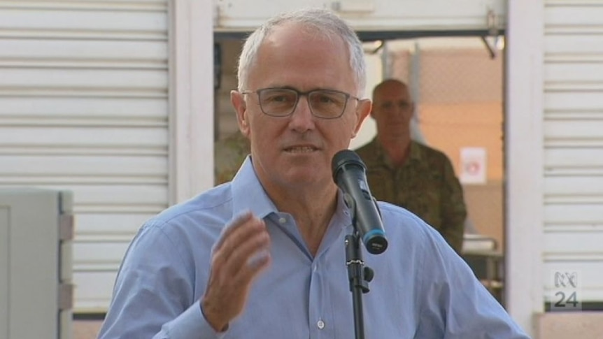 Prime Minister Malcolm Turnbull speaks to troops in Iraq
