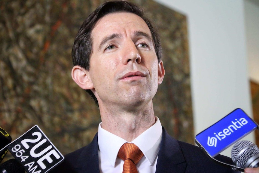 Head shot of Simon Birmingham speaking to reporters, microphones in shot but not reporters.