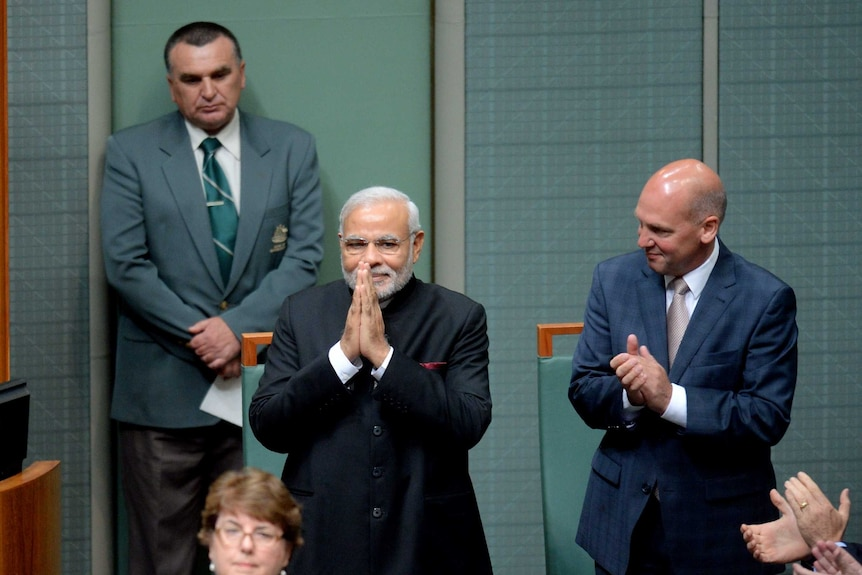 Indian prime minister Narendra Modi is welcomed into the House of Representatives.