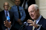 UN mediator for Syria Staffan de Mistura gestures during a news conference.