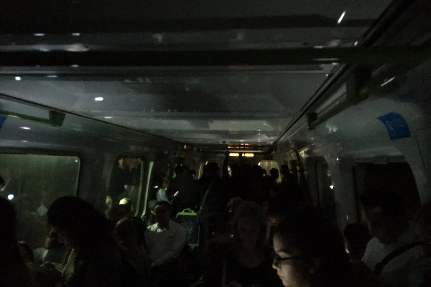 Darkness inside a Melbourne train in the city loop