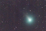 A bright blue spot of light on a dark night sky surrounded by stars. The blue light is comet SWAN.