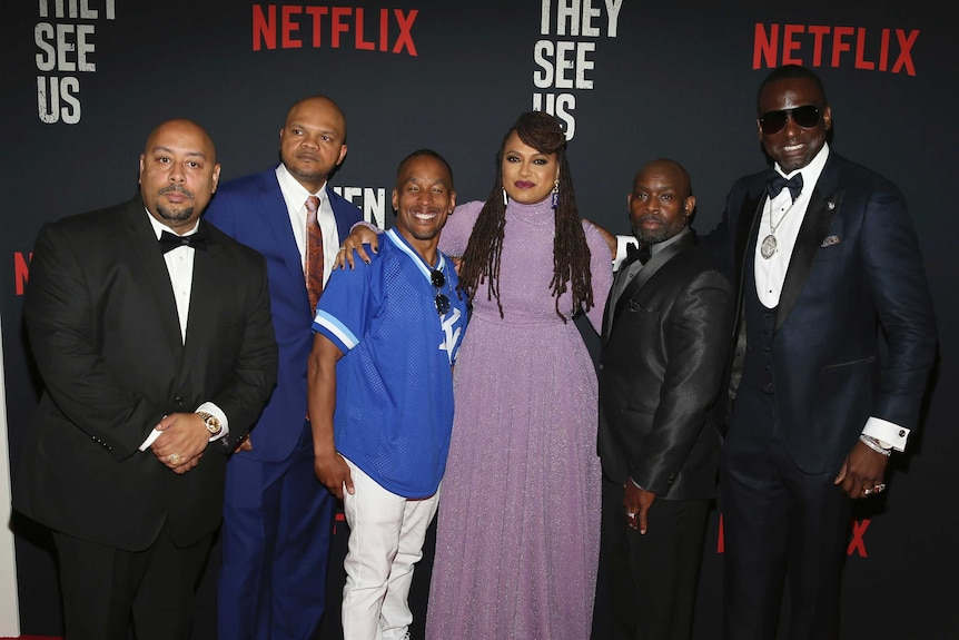 Director Ava DuVernay with the Central Park Five at the world premiere of When They See Us in New York.