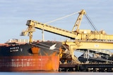 A ship at the Port of Newcastle receives a load of Hunter Valley coal
