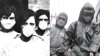 Three women wear masks in an old black and white image, two people wear goggles, suits and masks in a more recent image.