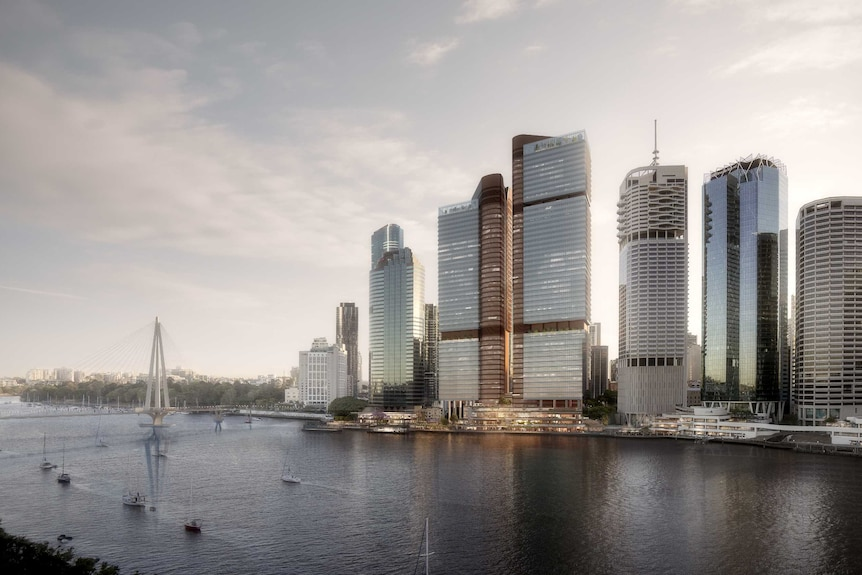 A concept image of proposed Waterfront Brisbane towers at the site of Eagle Street Pier