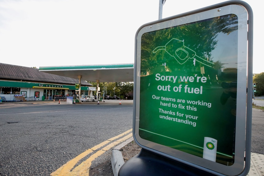 A BP petrol station displays a sign indicating that it has run out offuel