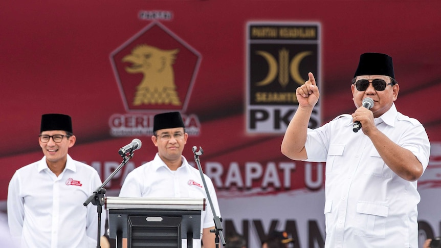 Prabowo Subianto talks to supporters at a campaign in February 2017.