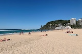 People at Burleigh beach on Queensland's Gold Coast.