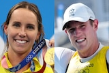 Three images of people wearing yellow smiling with gold medals