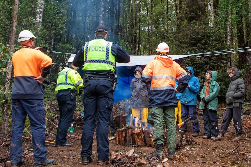 Police speak with anti-logging protesters.