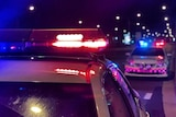 Two police cars on a city street at night, sirens blazing