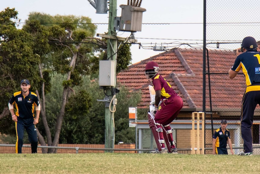 Akat Mayoum faces up in a T20 cricket match between Sunshine Heights and Doutta Stars.