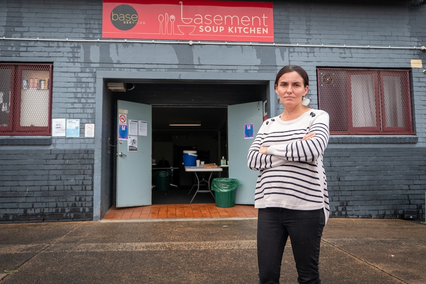 Toowoomba social worker Tiff Spary outside a soup kitchen, Toowoomba, March 2021.