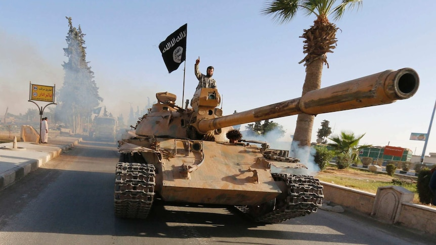 Islamic State fighter on top of tank in Syria