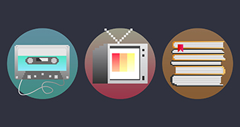 Icons for music, television and literature