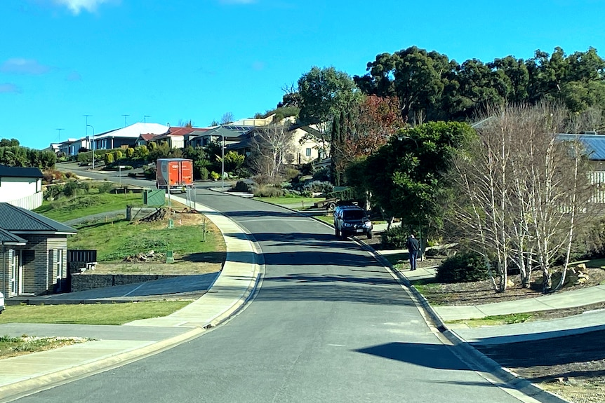 Houses on a suburban street that edges up a small hill