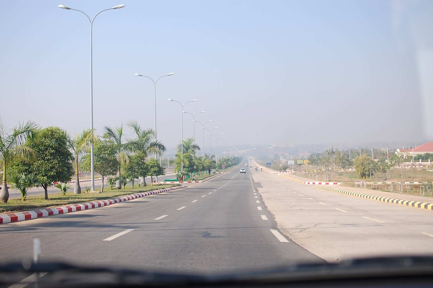 A massive, eight-lane highway in the Myanmar capital of Naypyidaw virtually empty.