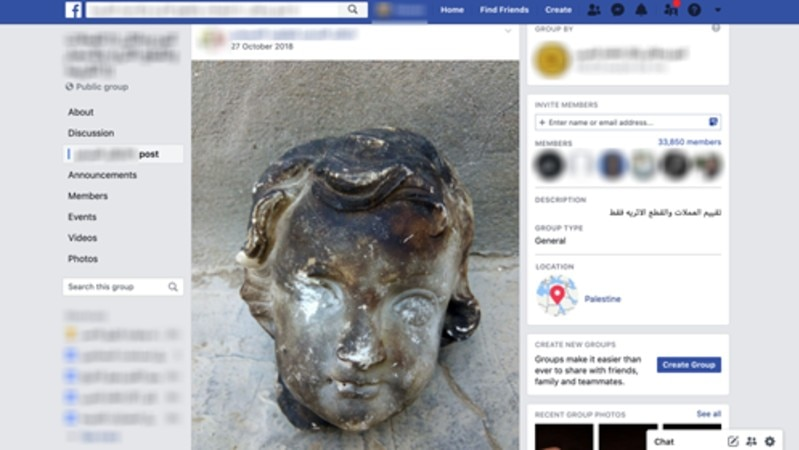 A Facebook page showing a burned statue head for sale