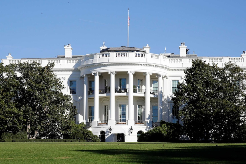 An exterior shot of the White House