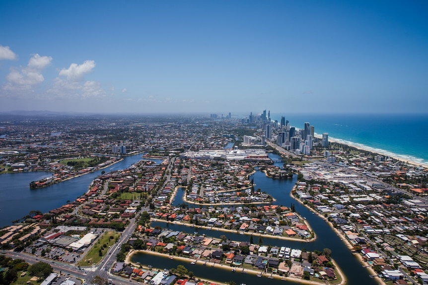 An aerial view of the Gold Coast canal network