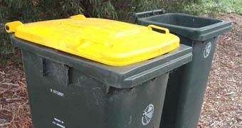 Yellow lid recycling bin