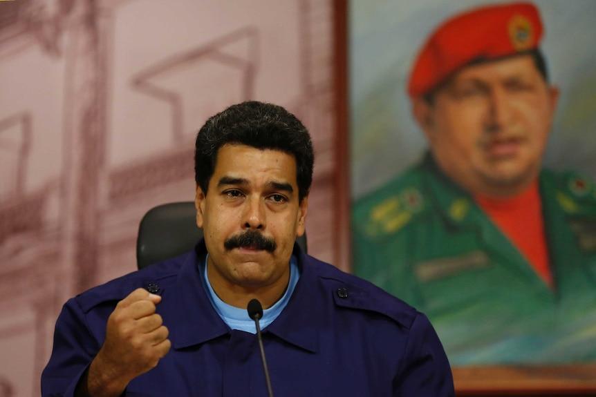 Venezuela's president Nicolas Maduro at a press conference