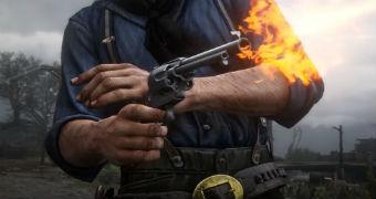 A man in a video game firing a gun.