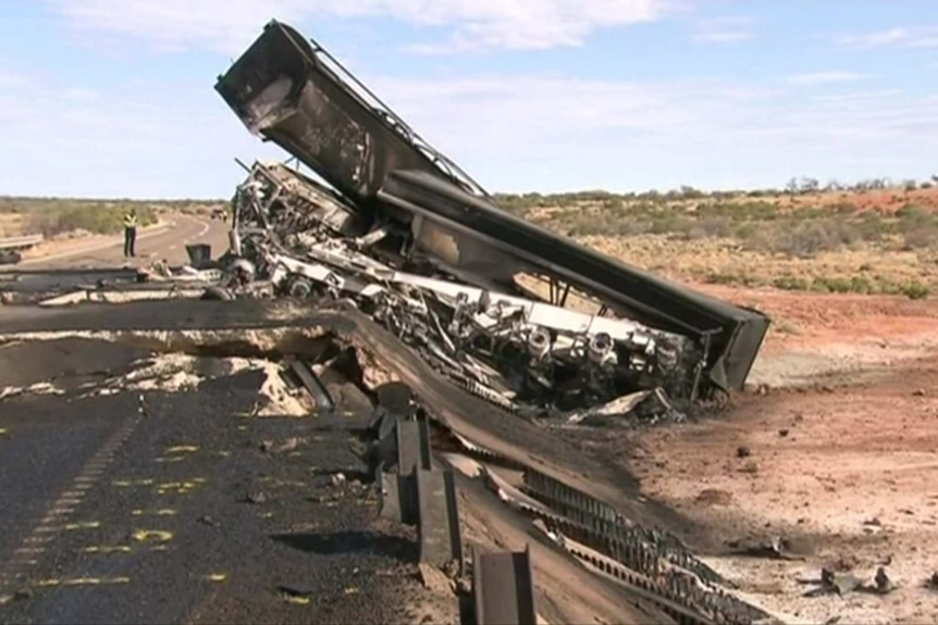A blackened truck and road