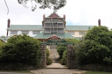 The Mount Buffalo Chalet wrapped with scaffolding