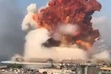Enormous clouds from an explosion on the oceanfront in Beirut.